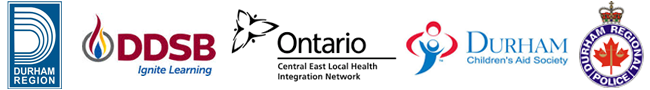 Logos for Durham region, Ontario Local Health Integration Network, DDSB, The Durham Children's Aid Society and the Durham Regional Police